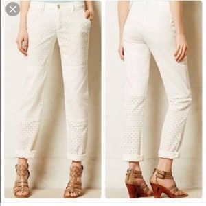 Anthropologie Pilcro Hyphen Eyelet Chinos